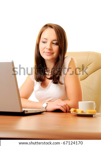 Young beautiful businesswoman with laptop isolated over white
