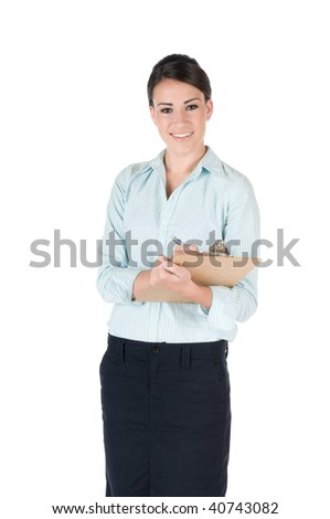 Young, beautiful businesswoman writing on clipboard at work, happy and smiling, isolated on white background