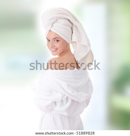 Young beautiful caucasian woman after bath
