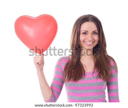 young beautiful caucasian woman with balloon