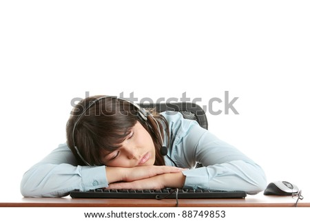 Young beautiful caucasian woman working in call center - tired