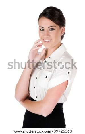 Young, beautiful, confident businesswoman looking at camera, happy and smiling, isolated on white background