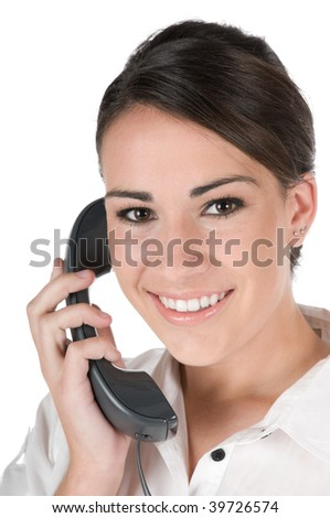 Young, beautiful, confident businesswoman talking on the phone, happy and smiling, isolated on white background