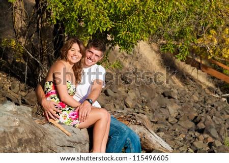 young beautiful couple enjoying the view  late autumn in idaho