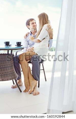 young beautiful couple in the morning