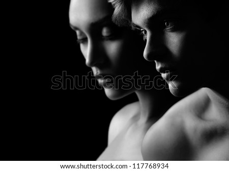 Young beautiful couple silhouette in Black & White
