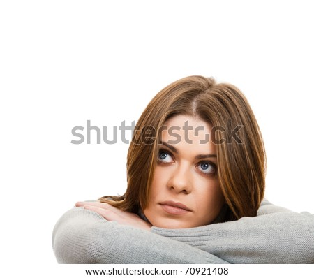 Young beautiful depression  woman/ Isolated