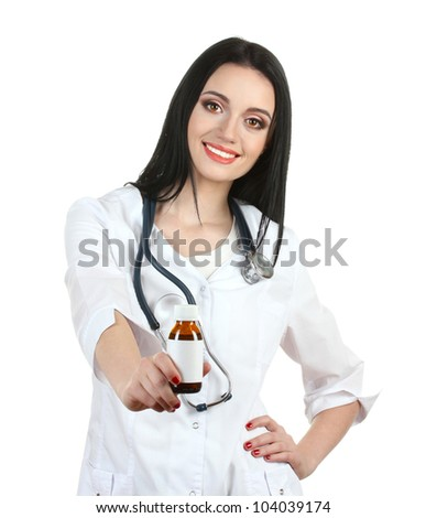 young beautiful doctor with stethoscope holding bottle with pills isolated on white