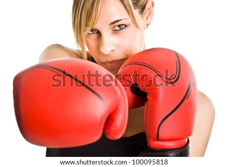 Young beautiful female boxer portrait - stock photo