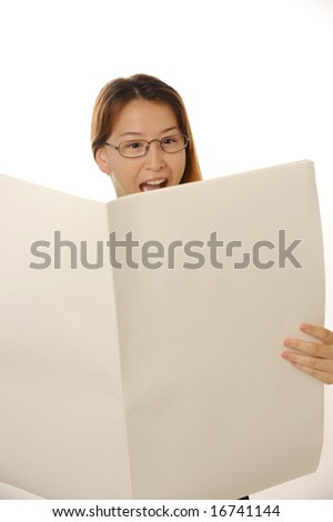 young beautiful female lady is reading blank newspaper