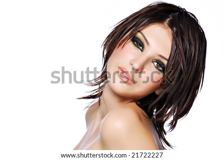 young beautiful female teenager with creativity hairstyle