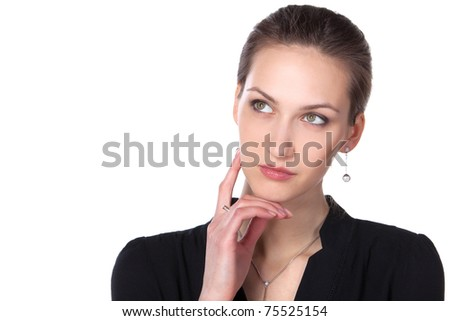 Young beautiful female thinking and pondering over something with her finger on the cheek isolated on white background, with copy-space
