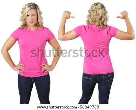 Young beautiful female with blank pink shirt, front and back. Ready for your design or logo.