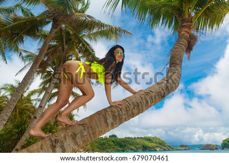 Young beautiful girl in bikini on the palm tree on a tropical beach. Tropical sky and sea in the background. Summer vacation concept. #679070461