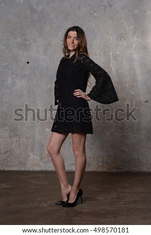 Young beautiful girl in the summer dress #498570181