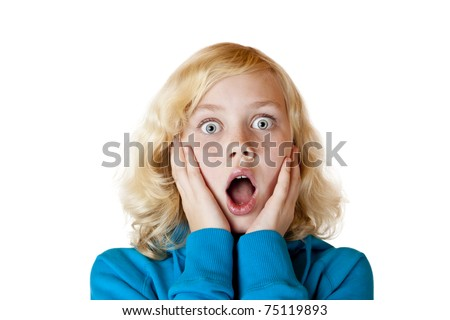 Young beautiful girl looks scared in camera.Isolated on white background.