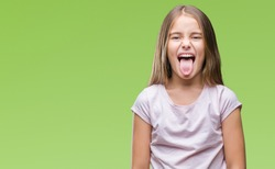 Young beautiful girl over isolated background sticking tongue out happy with funny expression. Emotion concept.