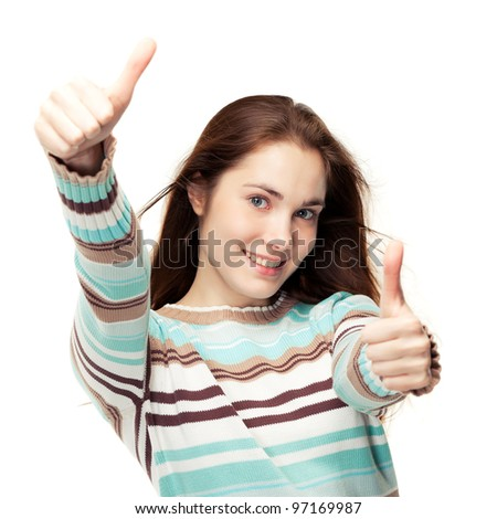 Young beautiful girl showing two thumbs up, isolated on white