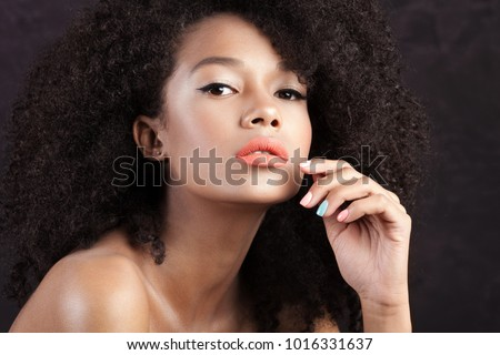 Young beautiful girl with clean perfect skin close-up. Beauty portrait #1016331637