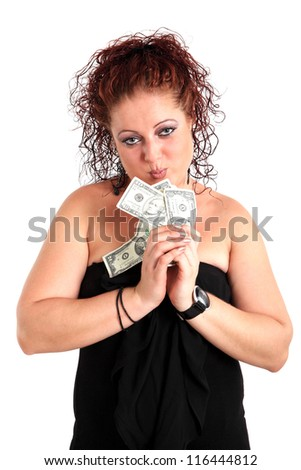 Young beautiful girl with dollars on the white background