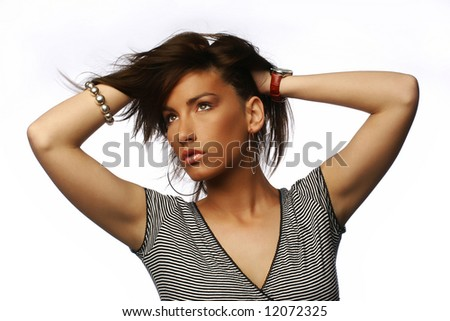 young beautiful girl with hair blowing
