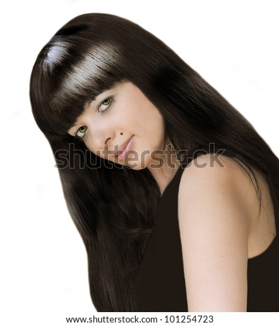Young beautiful girl with long black hair on the white background