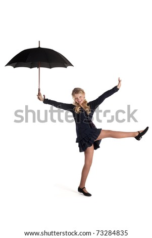 young beautiful girl with umbrella isolated on white