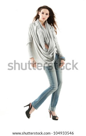 Young beautiful happy smiling fashion woman in casuals - isolated on white background. Full length portrait