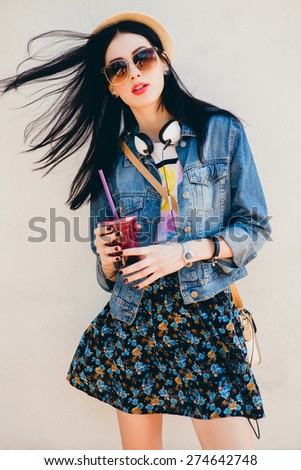 young beautiful happy stylish...