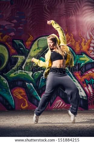 young beautiful hip hop urban dancer - stock photo