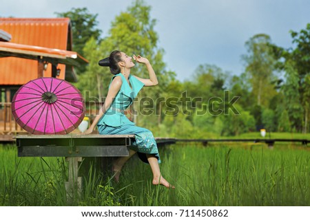 young beautiful lao woman in...