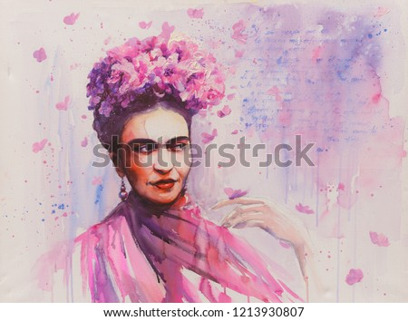 Young beautiful mexican woman with a traditional hairstyle - flowers in her hair. Butterflies in background.Picture created with acrylics colors.