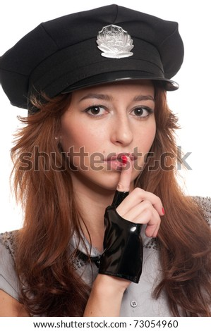 Young beautiful police woman posing in sexy costume isolated on white