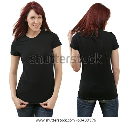 Young beautiful redhead female with blank black shirt, front and back. Ready for your design or logo.