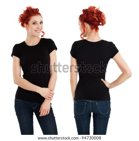 Young beautiful redhead female with blank black shirt, front and back. Ready for your design or artwork.