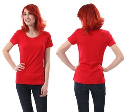 Young beautiful redhead female with blank red shirt, front and back. Ready for your design or artwork.