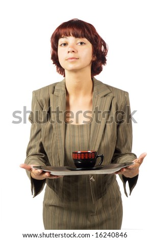 Young  beautiful secretary with a cup on tray. Isolated on white background.
