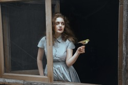 Young, beautiful, sensual and sad woman standing near the window with black background and let the bird fly away