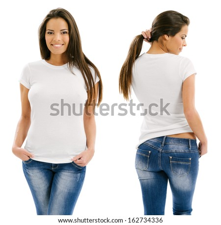 Young beautiful sexy female with blank white shirt, front and back. Ready for your design or artwork. #162734336