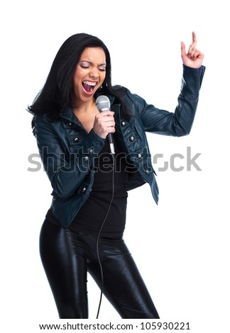 Young beautiful singer girl. Isolated over white background.