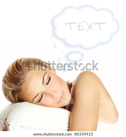 Young beautiful sleeping girl, lying on the pillow and dreaming, isolated on white background with copy space, health care concept - stock photo