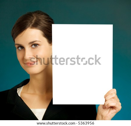 Young beautiful smiling student, secretary or businesswoman with blank