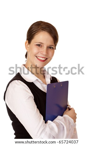 Young beautiful smiling woman holds clipboard. Isolated on white background.