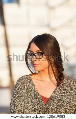 young beautiful student portrait with glasses
