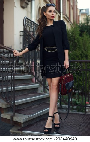 Free Photos Portrait Of The Girl In Red Shoes And A Black Dress