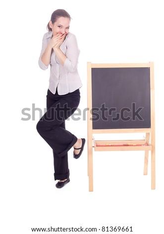 young beautiful teacher woman with small blackboard, series