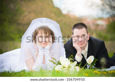 young beautiful wedding couple outdoor
