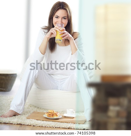 young beautiful woman at breakfast