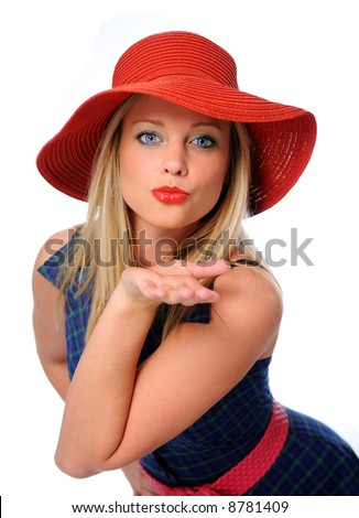 young beautiful woman blowing kisses to her valentines