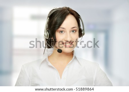 Young beautiful woman,call center worker